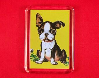 Fridge Magnet Adorable Boston Terrier Puppy Kawaii Kitsch Unique Retro Vintage KidsStory Book