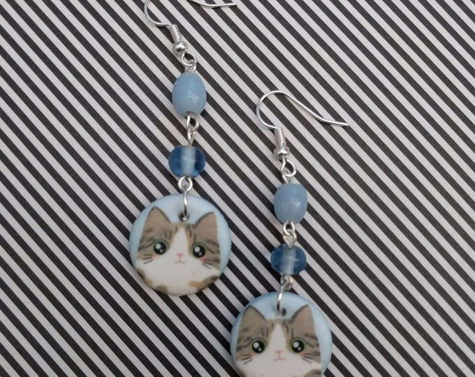 Blue Cat Statement Earrings, Animal Jewelry