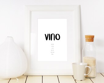 Vino Italian Words - Vino Italian Words print - Wall Art - Printable Italian Words