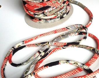 cords Japanese Chirimen, traditional, orange and black pattern (C1175) 4mm