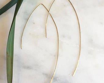 Gold filled Long Arc earrings