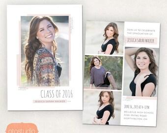 Senior Graduation Announcement Template for Photographers PSD Flat card - Delicate Boho CG034