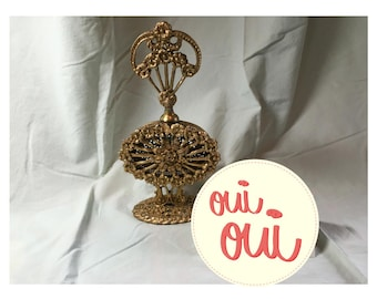 Unique engagement gift - a vintage gold filigree footed perfume bottle