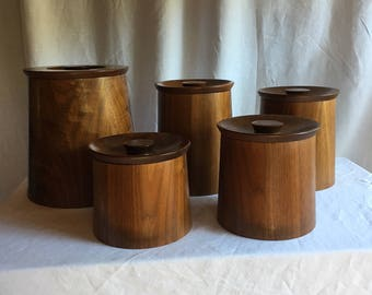 Set of 5 Mid century Teak Containers