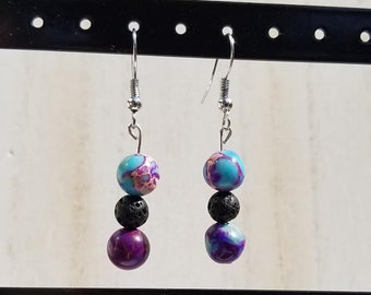 Galaxy Sea Sediment Jasper and Lava Bead Earrings - Diffuser Earrings