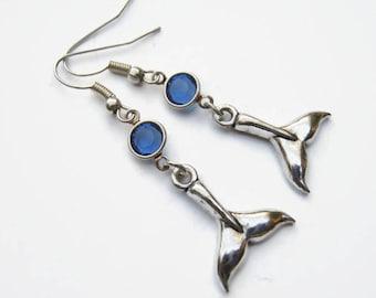 Whale Tail Birthstone Earrings, Nautical Charm Earrings, Personalized Swarovski Crystal, Nature Beach Earrings, Whale Jewelry