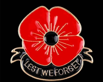 Lest We Forget Remembrance Poppy Brooch/Pin