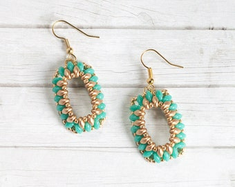 Ashlyn Turquoise, Beaded Earring, Hand beaded Earring, Seed Bead Earring, SuperDuo, Turquoise Earring, Gold Earring, Mother's Day gift