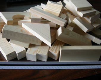 Children's Play Blocks  51 pieces Unfinished Wood  Sanded Smooth