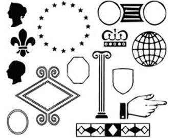 Unmounted Tiny Rubber Stamps Faux Postage Shapes