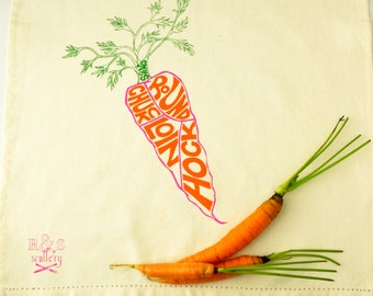 Tea Towel, Vegetarian, Carrots, Funny Kitchen, Butchery Chart, Vegan, Illustration, Hostess Gift, Funny Kitchen Towel, Kitchen Decor, Dish