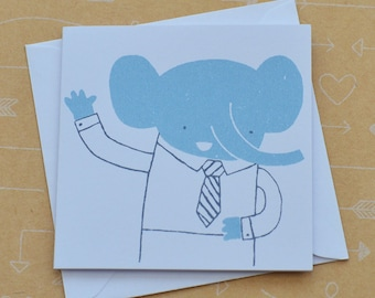 Hello Elephant Tiny Screenprinted Card