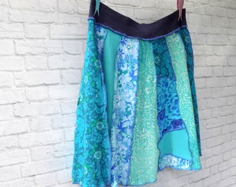 T-Shirt Skirt - Upcycled Clothing - Summer Skirt for Women - Teal Turquoise Aqua - Comfortable Knee Length Flared Skirt - Repurposed Eco