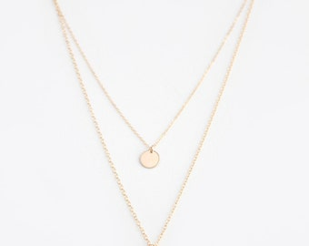Double Layer Disc Necklace - Choker - 14k GOLD Filled or Sterling Silver - Nicolette