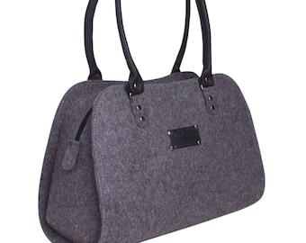 Shoulder Bag handbag Felted purse Street Multi Bag in Grey, Diaper bag, Women Tote Bag, Bags and purses, Grey Bag Messenger Bag