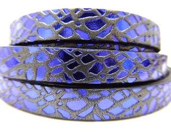 Blue spider Black metallic 10 mm, 28 cm leather strap