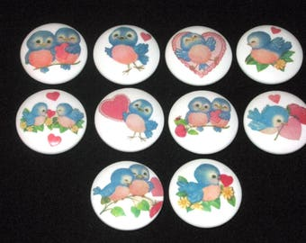 Set of 10 ~ BLUEBiRDS Of HAPPiNESS ~ Hand Painted Wooden Knobs/Pulls ~ Great for Little Girl's Room, Nursery, Office