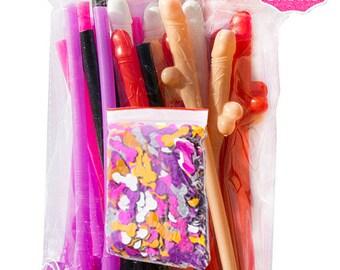 Penis Straws (24 Pack) + Penis Confetti | Bachelorette Party Favors | Bachelorette Party Decorations