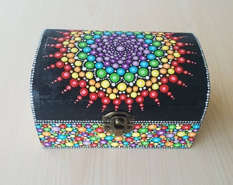 Mandala Rainbow Jewelry Box - Dot Art - Painted Chakra Wood Box - Jewellery Box - Mandala Art - Trinket Box - Unique Gift - Keepsake Box