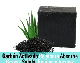 Artisan soap Activated charcoal and aloe vera.
