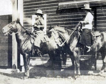 vintage photo 1919 Women Cowgirls Ride Horses in Western Style RPPC