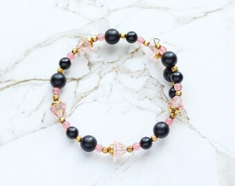 Feminine Pink Bracelet, Black Gold Wrap Bracelet, Blush Pink Glass Flower Bracelet, Vintage Glass Lucite Beaded Bracelet, Mother's Day Gifts