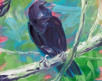 Crow in the Tree 1 original wildlife oil painting