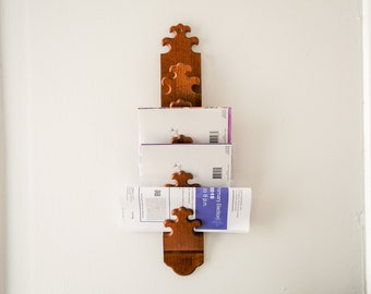 Carl Forslund Mail Rack • Wood Letter Holder • Farmhouse Wall Hanging • Wooden Bills Storage • Cherry Vertical Organization • Fleur de Lis