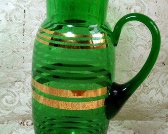 PITCHER VINTAGE Green Glassware with Gold Gilding - Gorgeous