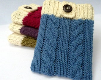 """Cable knit eReader case for Kindle 4, Kindle Touch, Kobo Touch, Kindle Fire 7"""", iPad Mini, Samsung Galaxy Tab 2 or 3 (7""""), Kindle Keyboard"""