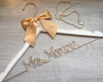 Wedding Dress, Bridal Shower Gift, Gift for Bride, Wedding Hanger, Shower Gift, Custom Dress Hanger, Bridesmaid, Unique Shower Gift, 14