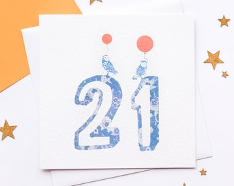 21st birthday card, 21 today! 21 years old card, Age 21 card, Owl card, Birthday owl card, It's your birthday card. Blank inside.