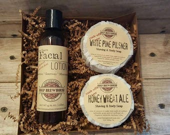 Shaving Soap Set/ With Aftershave Lotion/ Beer Soap Set/ Alpha Hydroxy Lotion Set