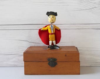 Vintage Small Hand Painted Wood Matador Bobble-Head Figure, Vintage Small Hand Painted Wooden Figure