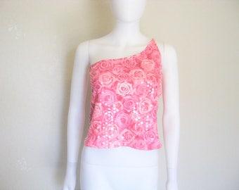Pink rose print one shoulder top - large
