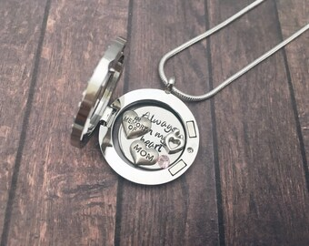 Memorial Locket Necklace Personalized Gifts, Remembrance Loss Memorial Locket, In Memory of Mom Jewelry, Mom and Baby Remembrance Necklace