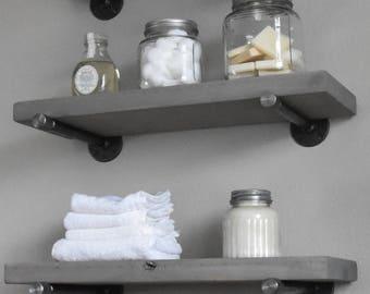 floating wood shelf for bathroom