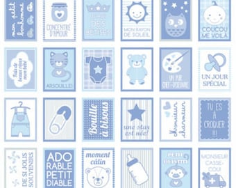 Stickers decorative stamp - Baby Boy - 3.3 x 2.7 cm - 64 pcs baby baby shower