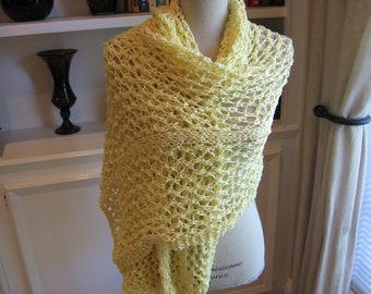 Cotton Shawl, Hand Knit in Yellow Adrienne Vittadinni Ribbon Yarn