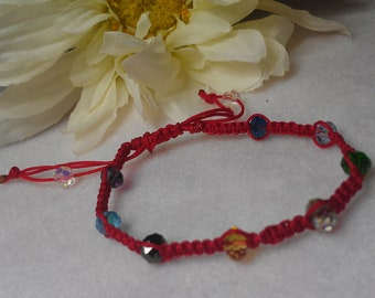 Red macrame  bracelet with crystals Free shipping!