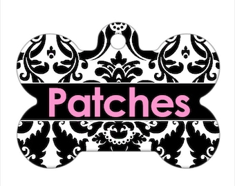 Personalized Pet ID Tag - Patches Custom Name Damask Dog Bone Pet Tag, Dog Tag