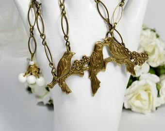 Vintage Brass Bird Brooch Necklace