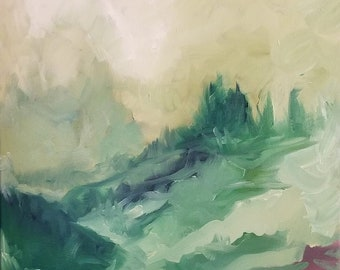 Emerald Sky Print, Oil Print, 8x10, Green Mountain, Wanderlust, Abstract, Impression,