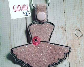 Dress Key Fob Snap Tab Embroidery Design 4X4 size
