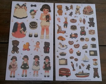 Set of 2 sheets of vintage stickers / little girls