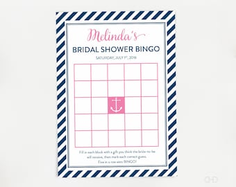 Nautical Bridal Shower BINGO Game, Pink and Navy Blue Personalized Bridal Shower Games, Lingerie Shower, Printable, Anchor, Tying the Knot
