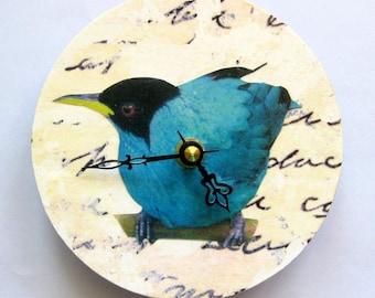 Small wall clock. Bird clock. Shabby chic clock. Retro clock. Clock for a bird lover. Blue bird. CD clock. Recycled CD.
