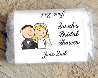 Bride and Groom Cartoon Candy Bar Wrappers for Bridal Shower ~ Wedding ~ Rehearsal Dinner Favors Candy Wrappers Mini Chocolate Wrappers