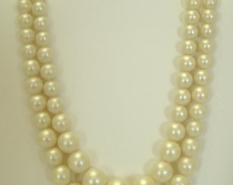 "Vintage Double Strands Faux Pearl Necklace (7045) 6mm - 14mm, 17"" & 18"" Strands--Japan"
