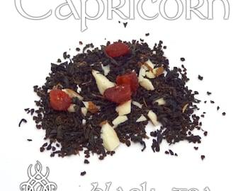 Capricorn Loose Leaf Tea - loose leaf black tea, strawberry almond, Capricorn zodiac gift, astrology tea, birthday gift, star sign capricorn